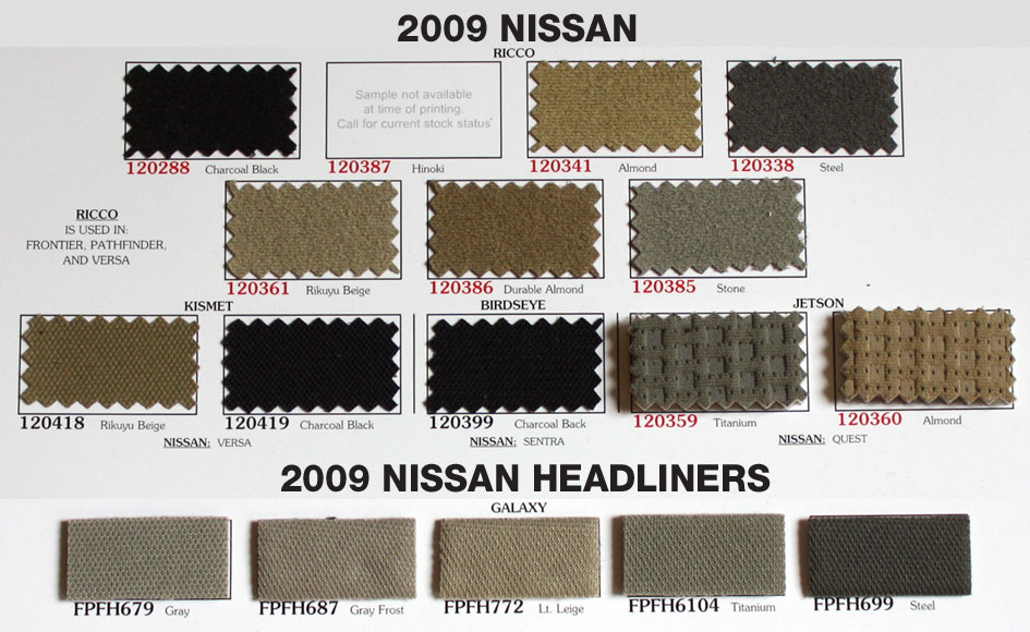 Nissan Auto Upholstery Repair Swatches